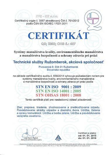 certifikácia spoločnosti